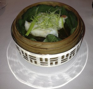Steamed Star Garoupa Fillet with Ginger and Spring Onions in Bamboo Bastket