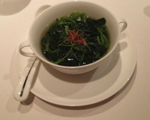 Poached Chinese Spinach in Soup
