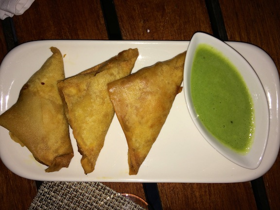 Samosas De Ropa Vieja de Guinea Fried Guinea Fowl Pastries w/ Yogurt & Herb Dipping Sauce