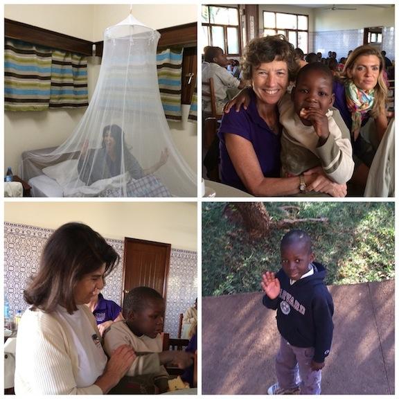 Vuestra hada en su camita con mosquitera, la Doctora Elena Barraquer y Eva Navarrete con los niños a la hora del desayuno