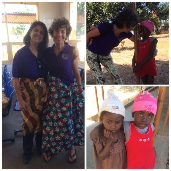 Eva y Elena felices el último día con las capulanas que nos regalaron las enfermeras de Boane, un detallado por su parte! Mil gracias chicas!!.